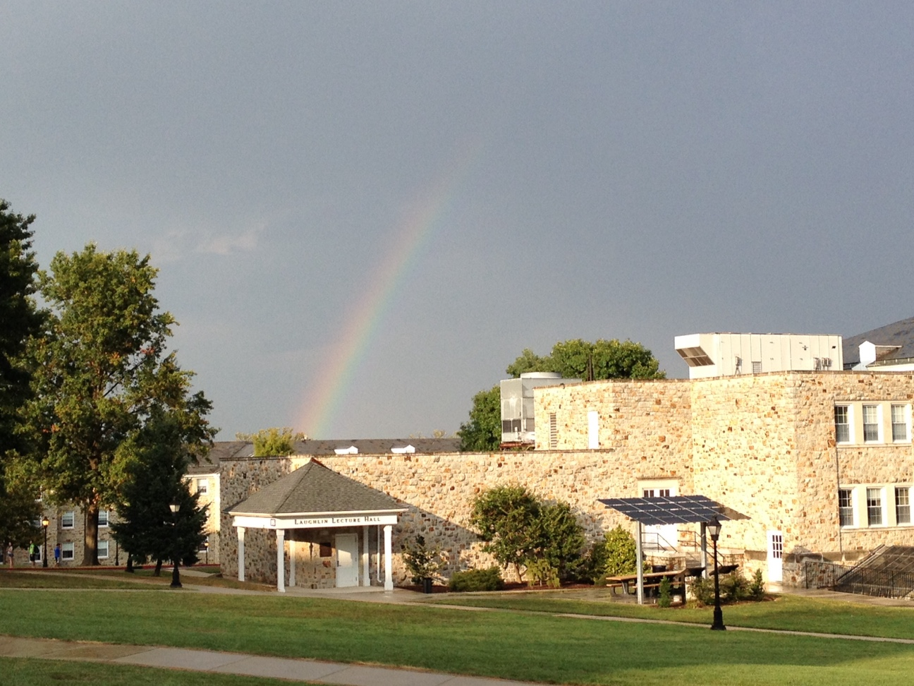 photo of a rainbow over the Science Building