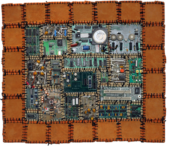 Circuit board quilt made by Eric Celarier