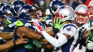 Photo of the brawl at the end of Super Bowl XLIX